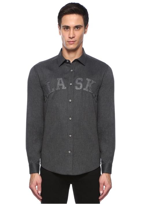 Slim Fit Gri Alaska Patch Detaylı Flanel Gömlek
