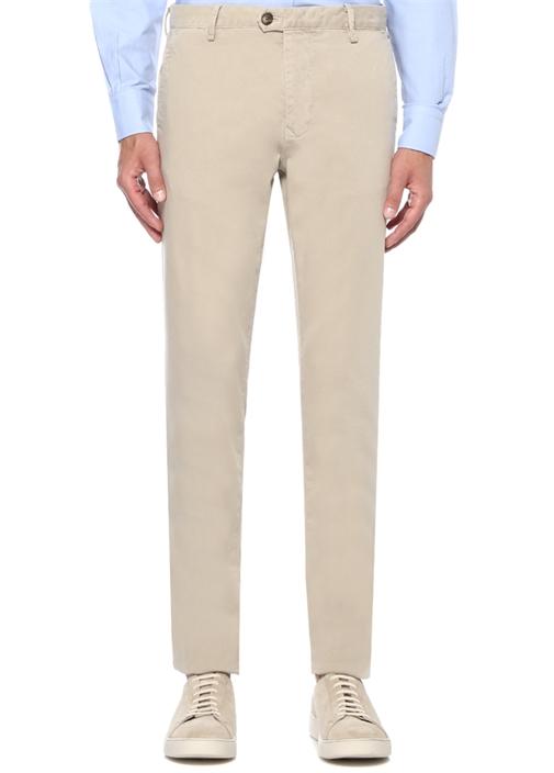 Slim Fit Bej Dokulu Kanvas Pantolon