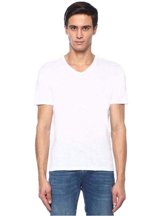 Beyaz V Yaka Logolu T-shirt