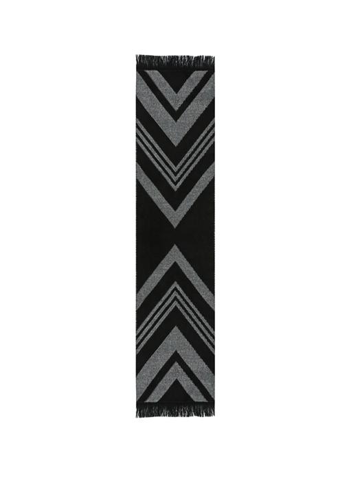 Siyah Gri Zikzak Desenli 25x190 cm Kadın Atkı