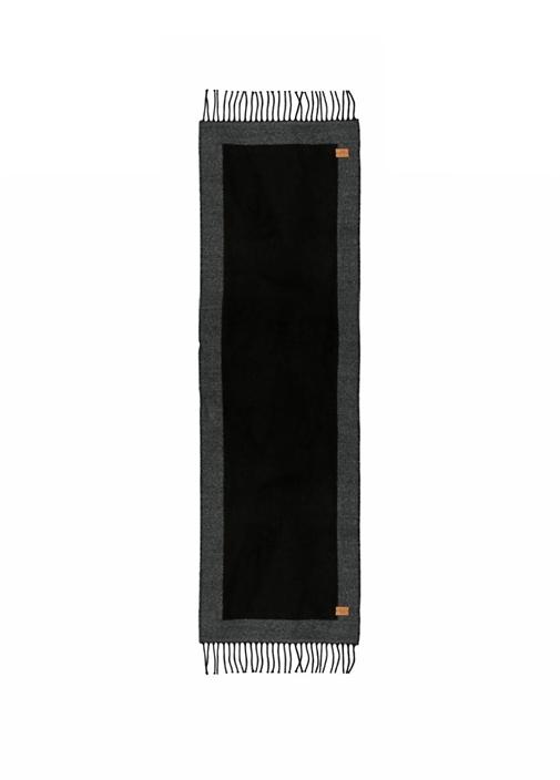 Siyah Gri Kenarları Bordürlü 30x175 cm Erkek Atkı