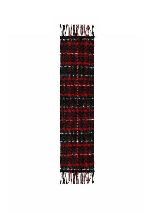 Kırmızı Kareli Kırçıllı 30x175 cm KadınAtkı