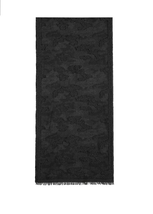 Siyah Desenli Sim Doku Detaylı Kadın Şal