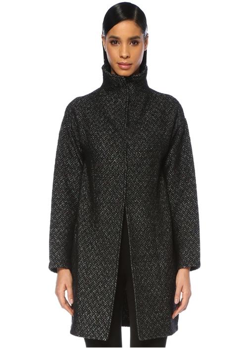 Siyah Dik Yaka Balıksırtı Desenli Uzun Triko Ceket