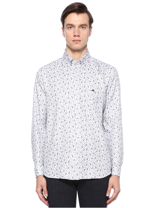 Beyaz Yakası Düğmeli Etnik Desenli Gömlek
