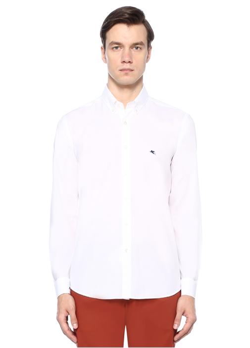 Beyaz Yakası Düğmeli Çizgi Dokulu Gömlek
