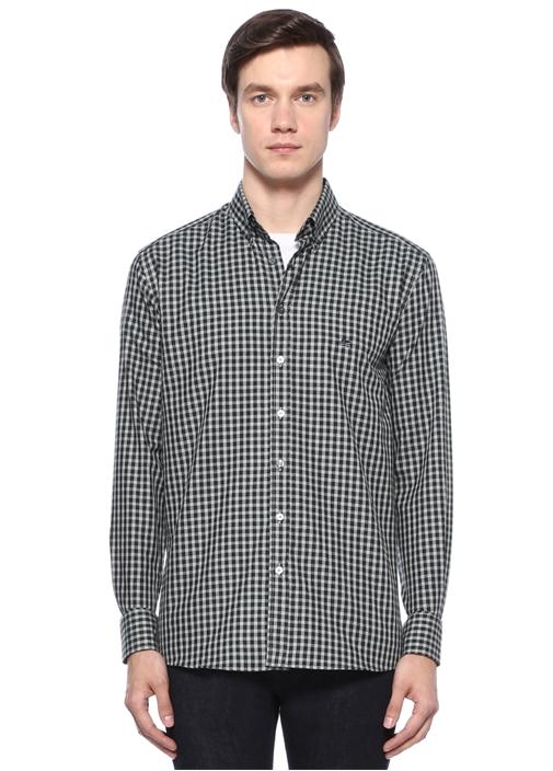 Gri Siyah Yakası Düğmeli Ekose Desenli Gömlek