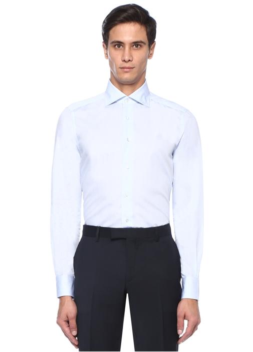 Mavi Kesik Yaka Çizgili Gömlek