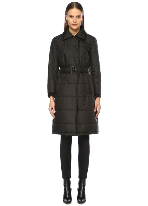 Siyah Kolları İşlemeli Kemerli Uzun Puff Palto