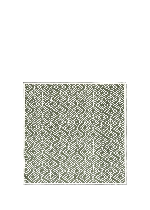 Yeşil Beyaz Etnik 70x70 Cm Kadın İpek Eşarp