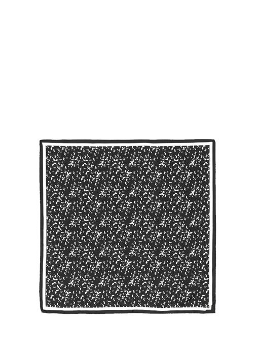 Siyah Beyaz Baskılı 90x90 Cm Kadın İpekEşarp