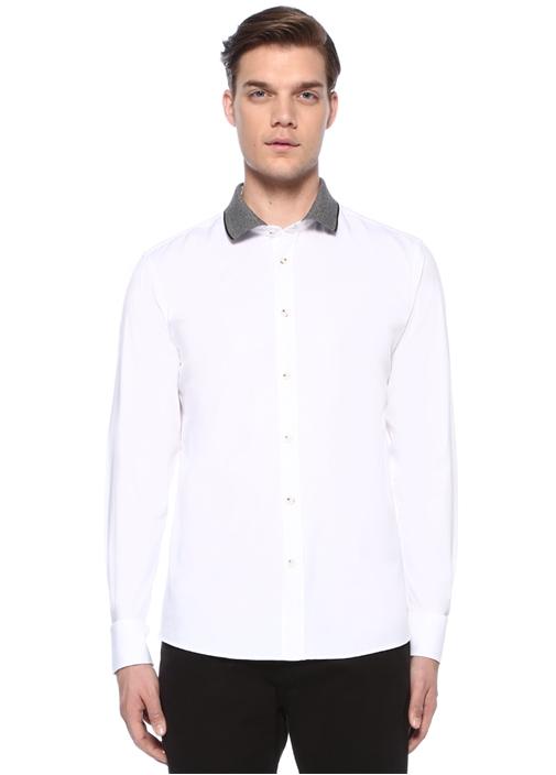 Slim Fit Beyaz Ribana Yakalı Oxford Gömlek