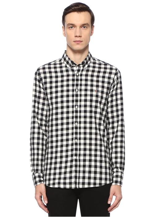 Slim Fit Siyah Beyaz Vichy Ekoseli Flanel Gömlek