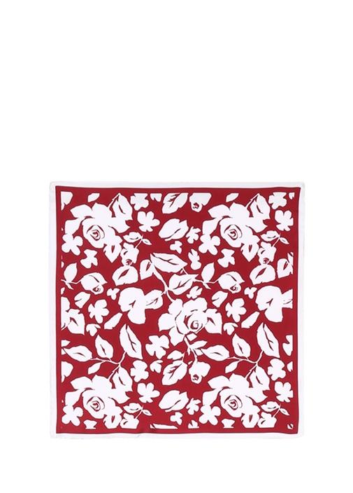 Kırmızı Gül Desenli 50x50 cm Kadın İpekEşarp