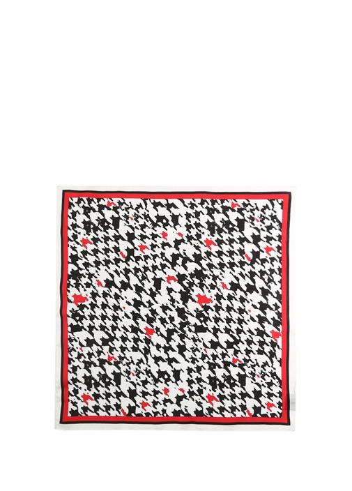 Beyaz Siyah Kazayağı Desenli 50x50 cm İpek Eşarp