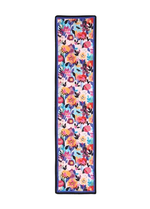 Pembe Çiçek Desenli 30x135 cm Kadın İpek Fular