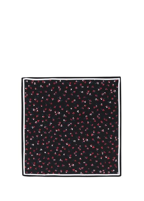 Siyah Çiçek Desenli 70x70 cm Kadın İpekEşarp