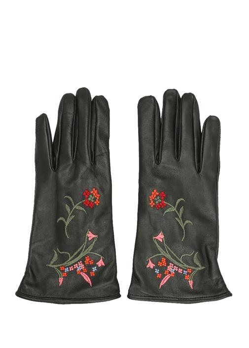 Siyah Çiçek Nakışlı Kadın Deri Eldiven