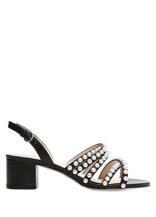 Siyah İnci Detaylı Kadın Deri Sandalet