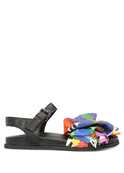 Siyah Fiyonk Detaylı Kadın Deri Sandalet