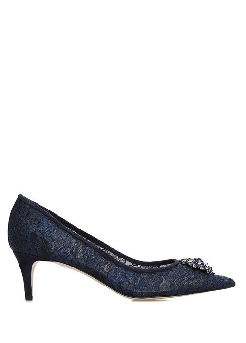 Lacivert Taş Broşlu Dantel Dokulu Topuklu Ayakkabı