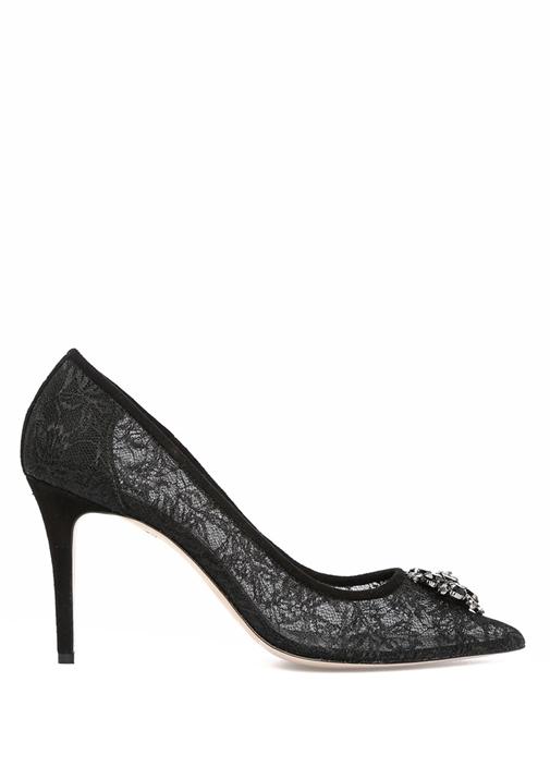 Siyah Taşlı Broşlu Kadın Dantelli Stiletto