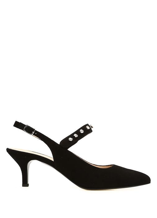 Siyah Taş İşlemeli Kadın Süet Ayakkabı