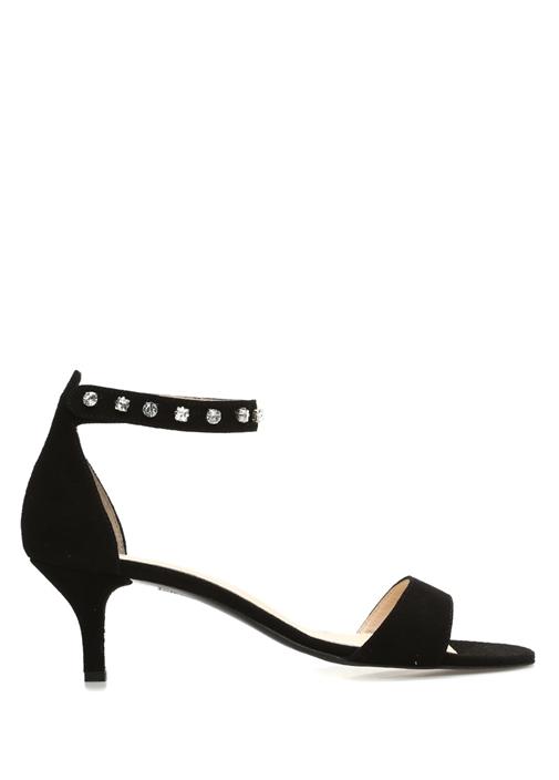 Siyah Taş Detaylı Kadın Süet Sandalet
