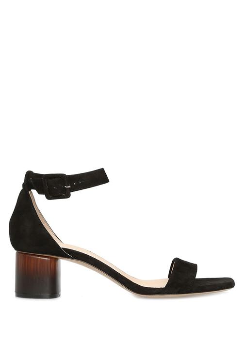 Siyah Topuk Detaylı Kadın Süet Sandalet