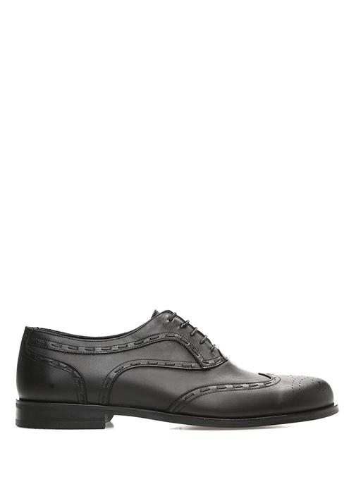 Siyah Dikiş Detaylı Klasik Erkek Deri Ayakkabı