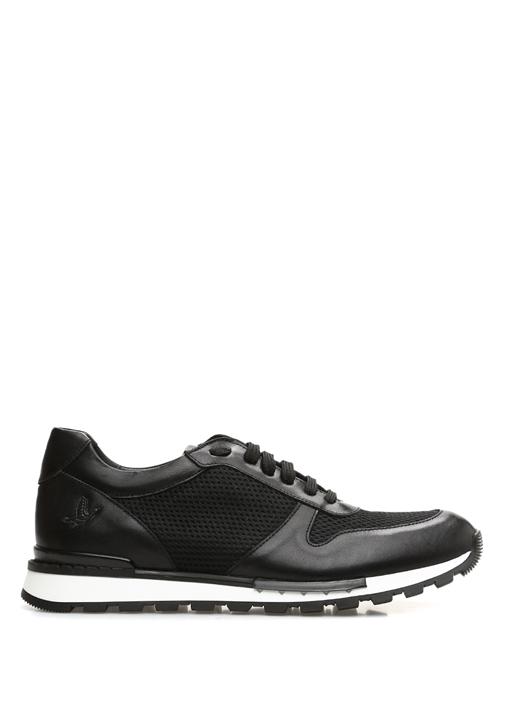 Siyah Beyaz File Garnili Logolu Erkek Deri Sneaker