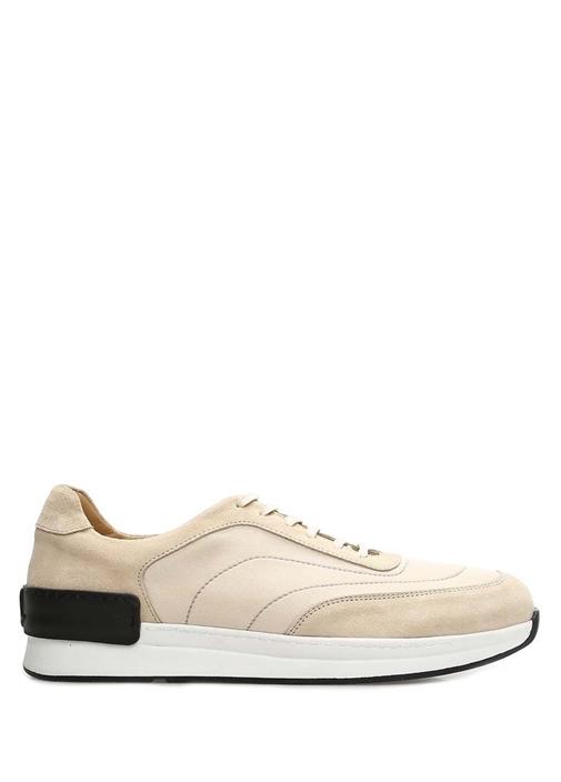 Bej Garni Detaylı Erkek Deri Sneaker