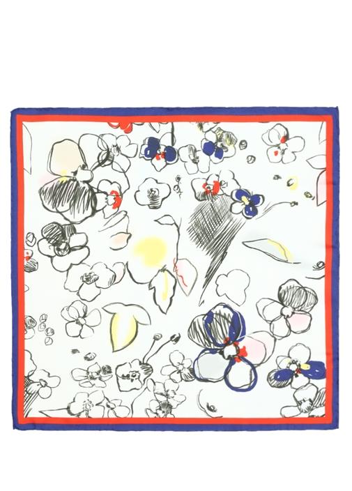 Beyaz El Çizimi Desenli 50x50 cm Kadın İpek Eşarp