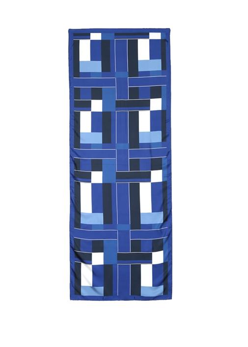 Lacivert Geometrik Desenli Kadın İpek Şal