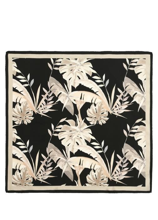 Siyah Yaprak Desenli 70x70 cm Kadın İpek Eşarp