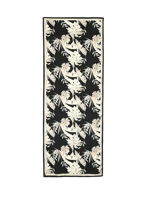 Siyah Tropikal Yaprak Desenli Kadın İpek Şal