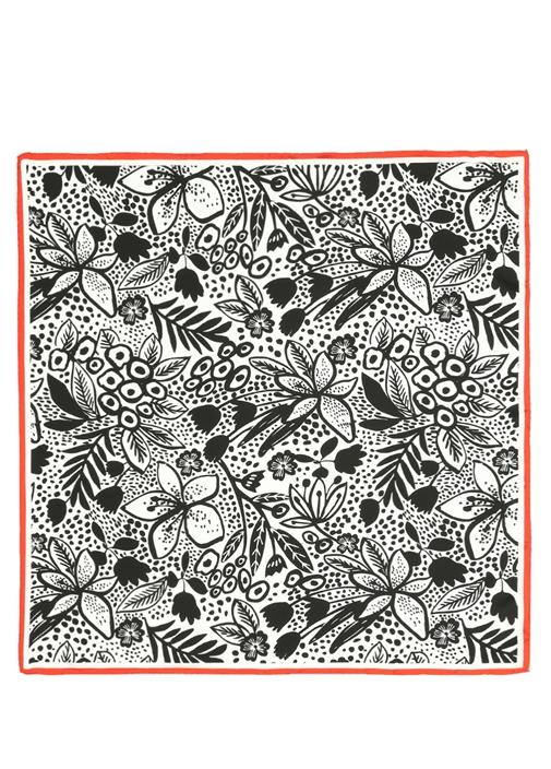 Beyaz Tribal Çiçekli 90x90 cm Kadın İpek Eşarp