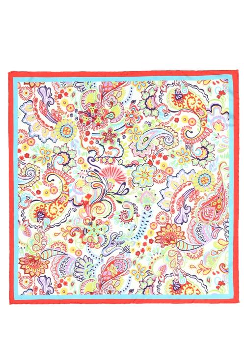 Beyaz Şal Desenli 50x50 cm Kadın İpek Eşarp