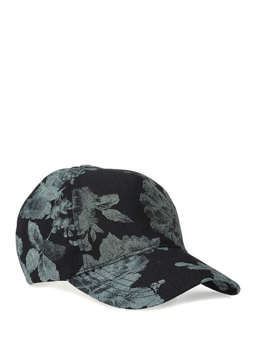 Lacivert Çiçek Desenli Kadın Denim Şapka
