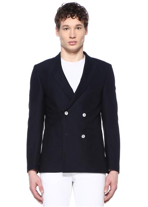 Lacivert Kruvaze Yün Blazer Ceket