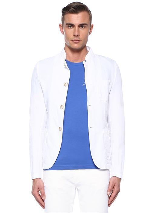 Beyaz Dik Yaka Ceket