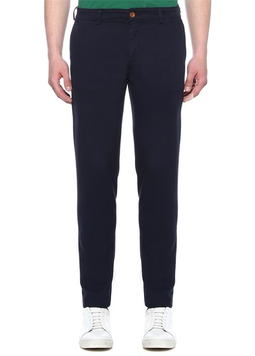 Slim Fit Lacivert Normal Bel Dokulu Chino Pantolon