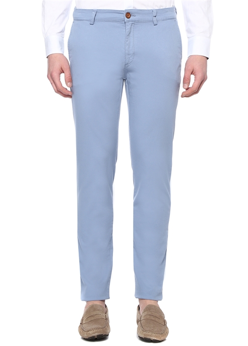 Slim Fit Mavi Normal Bel Dokulu Chino Pantolon
