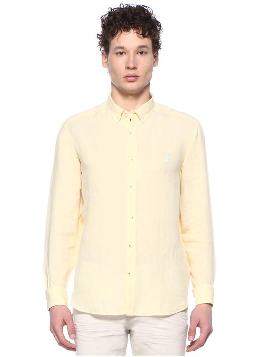 Comfort Fit Sarı Düğmeli Yaka Keten Gömlek