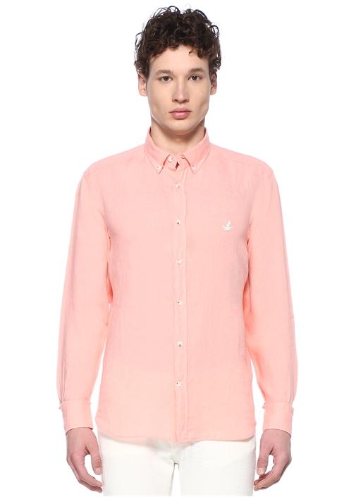 Comfort Fit Pembe Düğmeli Yaka Keten Gömlek