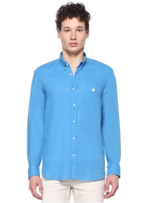 Comfort Fit Mavi Düğmeli Yaka Keten Gömlek