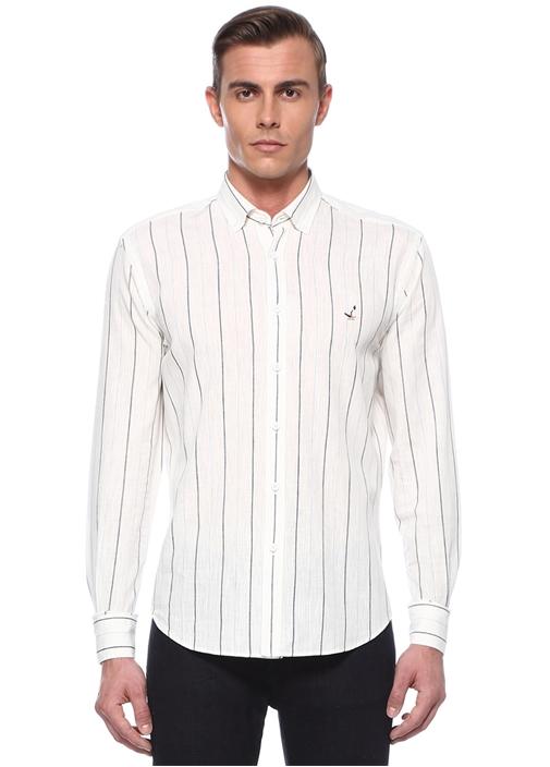 Comfort Fit Beyaz Çizgili Düğmeli Yaka Gömlek