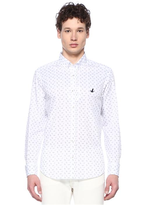 Comfort Fit Beyaz Mikro Şal Desenli Gömlek