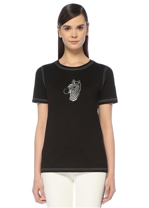 Siyah Zürafa İşlemeli Kontrast Dikişli T-shirt