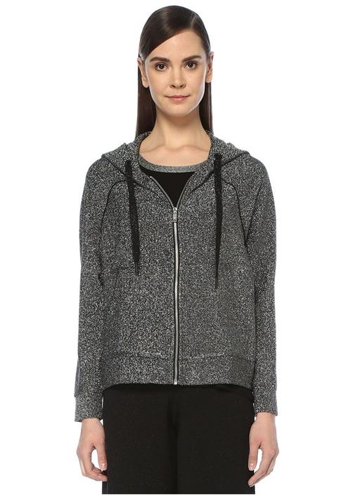 Silver Kapüşonlu Fermuarlı Simli Sweatshirt